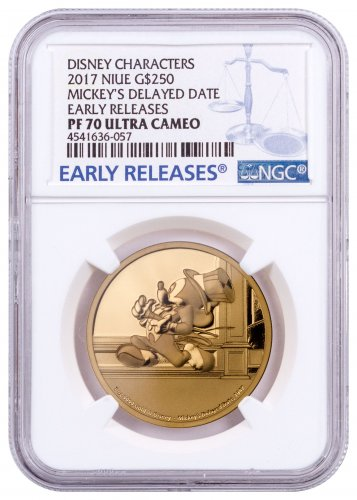 2017 Niue Disney Mickey Through the Ages - Delayed Date 1 oz Gold Proof $250 Coin NGC PF70 UC ER