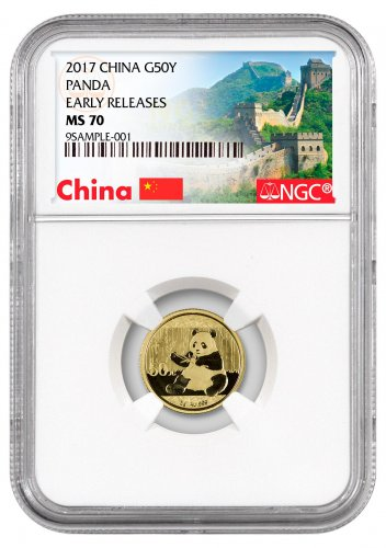 2017 China 3 g Gold Panda ¥50 Coin NGC MS70 ER (Exclusive Great Wall Label)