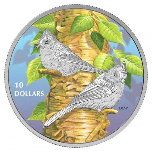 2017 Canada Birds Among Nature's Colors - Tufted Titmouse 1/2 oz Silver Colorized Proof $10 Coin GEM Proof (OGP)