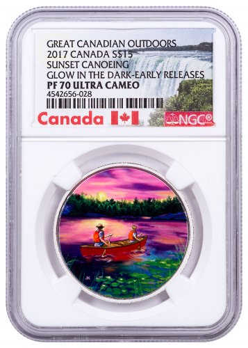 2017 Canada Great Canadian Outdoors - Sunset Canoeing 3/4 oz Silver Colorized Glow in the Dark Proof $15 Coin NGC PF70 UC ER (Exclusive Canada Label)