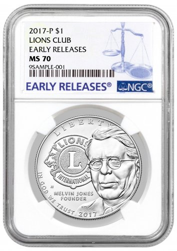 2017-P Lions Club Centennial Commemorative Silver Dollar NGC MS70 ER