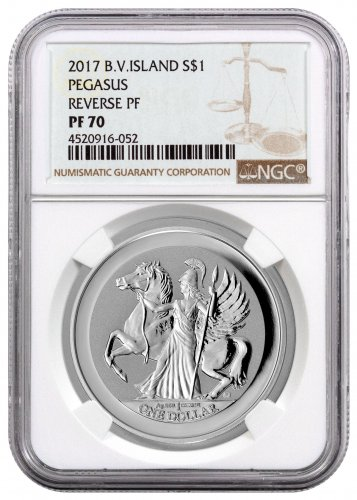 2017 British Virgin Islands 1 oz Silver Pegasus Reverse Proof $1 Coin NGC PF70