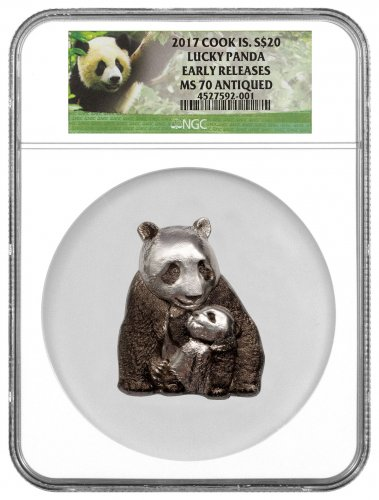 2017 Cook Islands Lucky Panda - High Relief Panda Shaped 88 g Silver Antiqued $20 Coin NGC MS70 ER (Exclusive Panda Label)