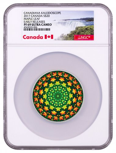 2017 Canada Canadiana Kaleidoscope - Maple Leaf 1 oz Silver Colorized Proof $20 Coin NGC PF69 UC ER (Exclusive Canada Label)
