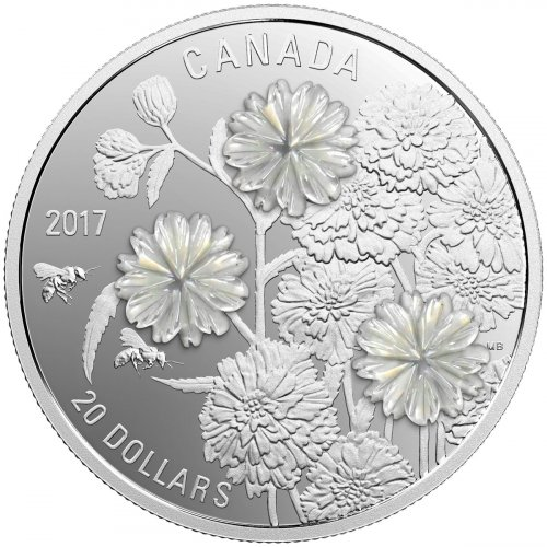 2017 Canada Pearl Flowers - Mother-of-Pearl 1 oz Silver Proof $20 Coin GEM Proof (OGP)