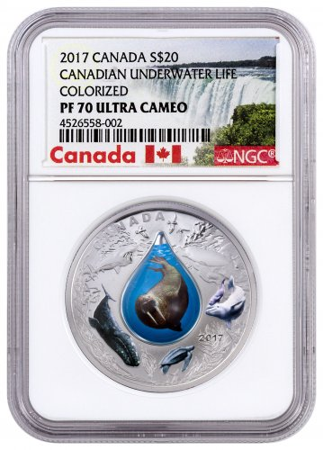 2017 Canada Canadian Underwater Life - 3D Water Droplet 1 oz Silver Colorized Proof $20 Coin NGC PF70 UC (Exclusive Canada Label)