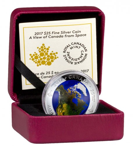 2017 Canada View of Canada from Space Domed 1 oz Silver Colorized Glow in the Dark Proof $25 Coin GEM Proof OGP