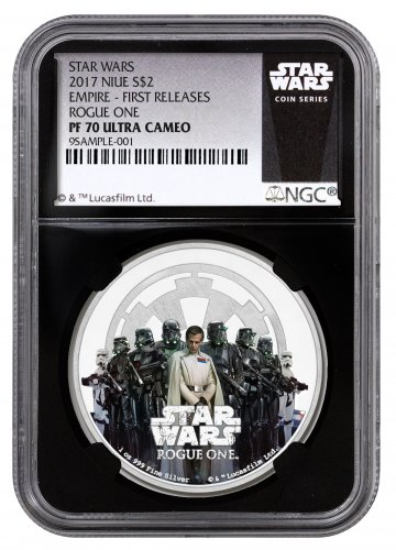 2017 Niue Star Wars: Rogue One - Empire 1 oz Silver Colorized Proof $2 NGC PF70 UC FR (Black Core Holder - Exclusive Star Wars Label)