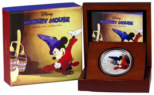 2017 Niue Disney Mickey Through the Ages - Fantasia 1 oz Silver Colorized Proof $2 GEM Proof OGP
