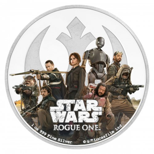 2017 Niue Star Wars: Rogue One - Rebellion 1 oz Silver Colorized Proof $2 GEM Proof