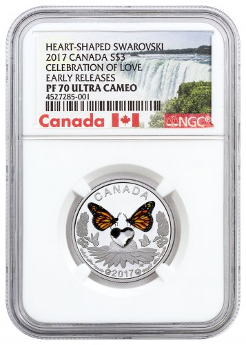 2017 Canada Celebration of Love - Crystal Heart 1/4 oz Silver Colorized Proof $3 Coin NGC PF70 UC ER (Exclusive Canada Label)