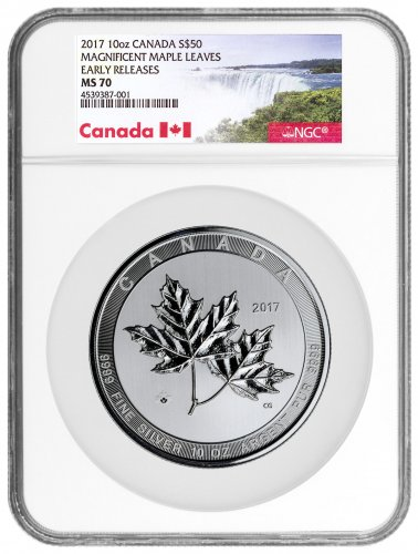 2017 Canada Magnificent Maple Leaves 10 oz Silver $50 Coin NGC MS70 ER (Exclusive Canada Label)