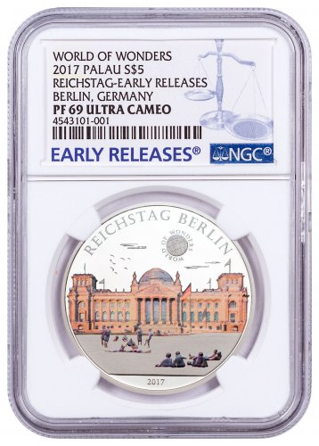 2017 Palau World of Wonders - Reichstag Berlin Silver Colorized Proof $5 Coin NGC PF69 UC ER