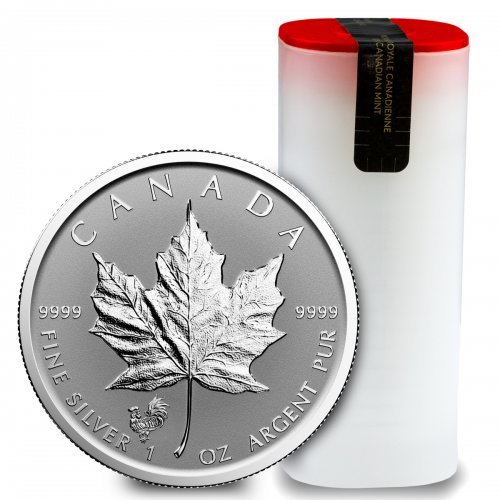 Roll of 25 - 2017 Canada 1 oz Silver Maple Leaf Lunar Year of the Rooster Privy Reverse Proof $5 GEM Proof