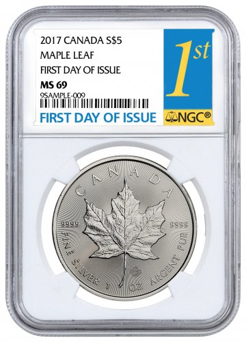 2017 Canada 1 oz Silver Maple Leaf $5 NGC MS69 FDI