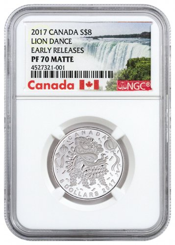 2017 Canada Lion Dance 1/4 oz Silver Matte Proof $8 Coin NGC PF70 ER (Exclusive Canada Label)