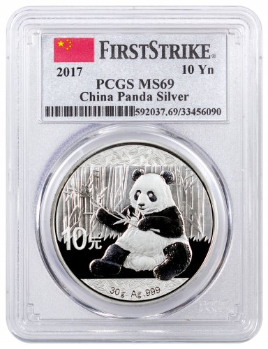 2017 China 30 g Silver Panda ¥10 Coin PCGS MS69 FS (China Flag Label)