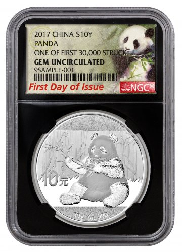 2017 China 30 g Silver Panda ¥10 Coin One of First 30,000 Struck NGC GEM BU FDI (Black Core Holder Exclusive Panda Label)
