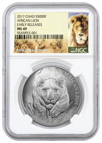 2017 Republic of Chad African Lion 1 oz Silver 5000 Franc Coin NGC MS69 ER (Exclusive Lion Label)