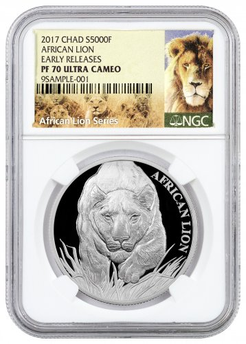 2017 Republic of Chad African Lion 1 oz Silver Proof 5000 Franc Coin NGC PF70 UC ER (Exclusive Lion Label)