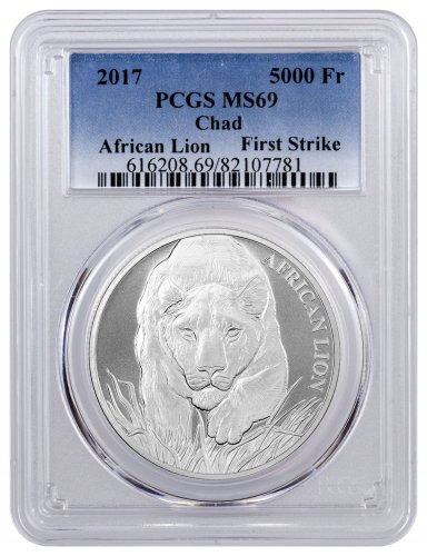 2017 Republic of Chad African Lion 1 oz Silver 5000 Franc Coin PCGS MS69 FS