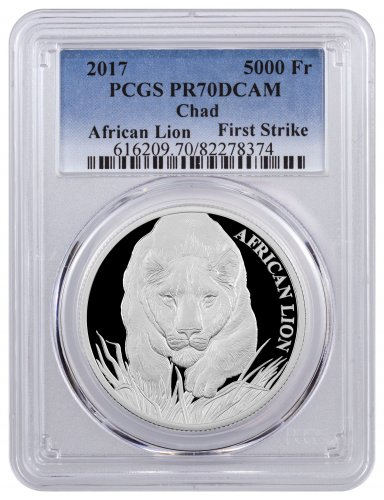 2017 Republic of Chad African Lion 1 oz Silver Proof 5000 Franc Coin PCGS PR70 DCAM FS