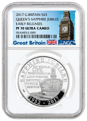 2017 Great Britain Queen Elizabeth II Sapphire Jubilee Silver Proof £5 Coin NGC PF70 UC ER (Exclusive Great Britain Label)