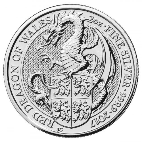 2017 Great Britain 2 oz Silver Queen's Beasts - Red Dragon of Wales £5 Coin GEM BU
