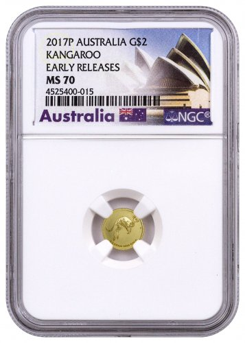 2017-P Australia 1/2 g Gold Kangaroo - Mini Roo $2 NGC MS70 ER (Exclusive Australia Label)