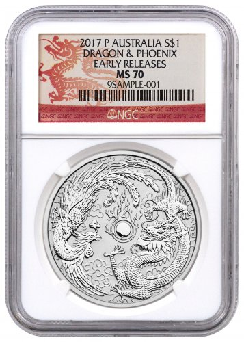 2017-P Australia 1 oz Silver Dragon & Phoenix $1 Coin NGC MS70 ER (Dragon Label)