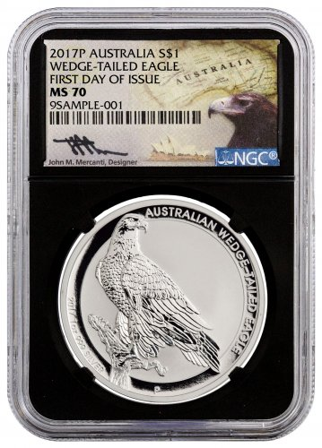 2017 Australia 1 oz Silver Wedge-Tailed Eagle $1 NGC MS70 FDI (Black Core Holder Mercanti Signed Label)