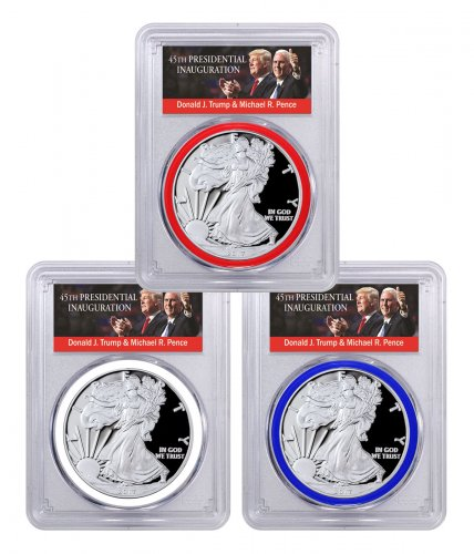 Set of 3 - 2017-W Proof American Silver Eagles PCGS PR70 DCAM FDI (Red, White & Blue Gaskets - Exclusive Trump & Pence Label)