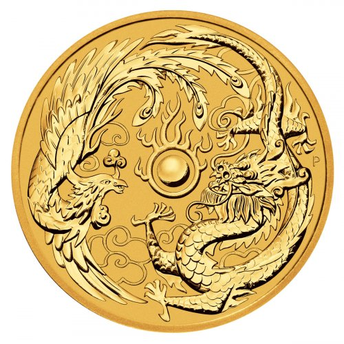 2018 Australia 1 oz Gold Dragon & Phoenix $100 Coin GEM BU