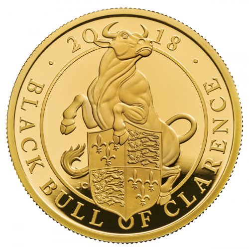 2018 Great Britain 1 oz Gold Queen's Beasts - The Black Bull of Clarence Proof £100 Coin GEM Proof OGP