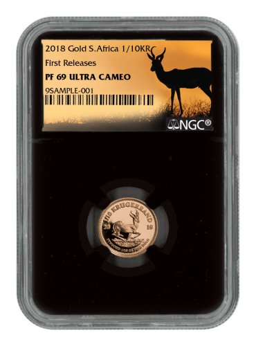 2018 South Africa 1/10 oz Gold Krugerrand Proof 0.10 Coin NGC PF69 UC FR Black Core Holder Exclusive Krugerrand Label