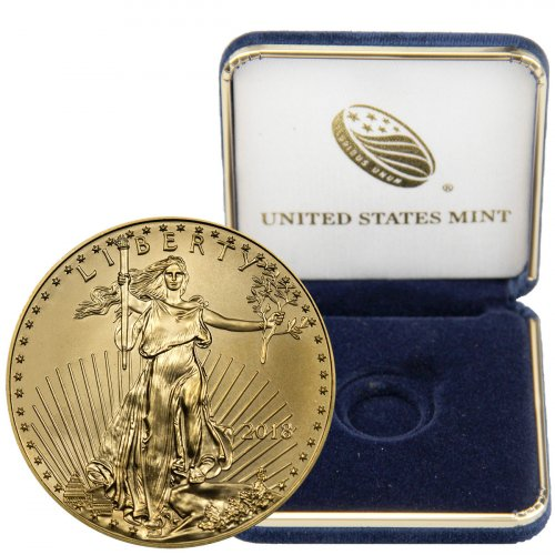 2018 1/4 oz Gold American Eagle $10 GEM BU with U.S. Mint Display Box