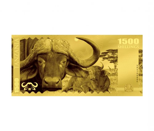 2018 Tanzania Big 5 - Buffalo Foil Note Gold Prooflike Sh1,500 Coin GEM Prooflike