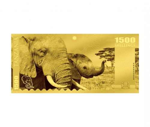 2018 Tanzania Big 5 - Elephant Foil Note Gold Prooflike Sh1,500 Coin GEM Prooflike
