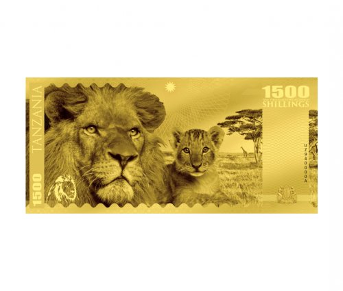 2018 Tanzania Big 5 - Lion Foil Note 1g Gold Prooflike Sh1,500 Coin GEM Prooflike