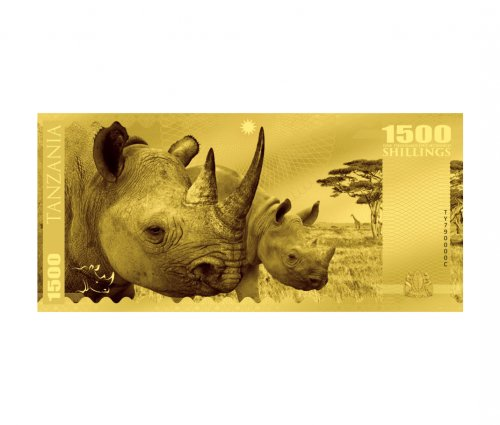 2018 Tanzania Big 5 - Rhino Foil Note Gold Prooflike Sh1,500 Coin GEM Prooflike