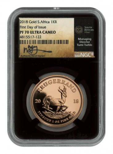 2018 South Africa 1 oz Gold Krugerrand Proof 1 Coin Scarce and Unique Coin Division NGC PF70 UC Black Core Holder