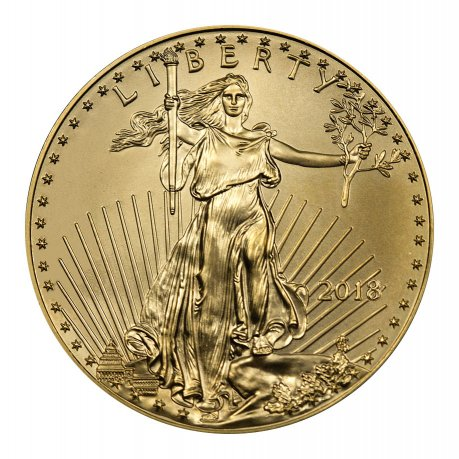 2018 1/10 oz Gold American Eagle $5 GEM BU