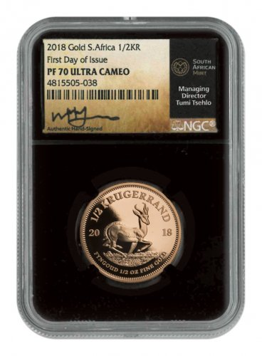 2018 South Africa 1/2 oz Gold Krugerrand Proof 0.50 Coin Scarce and Unique Coin Division NGC PF70 UC Black Core Holder