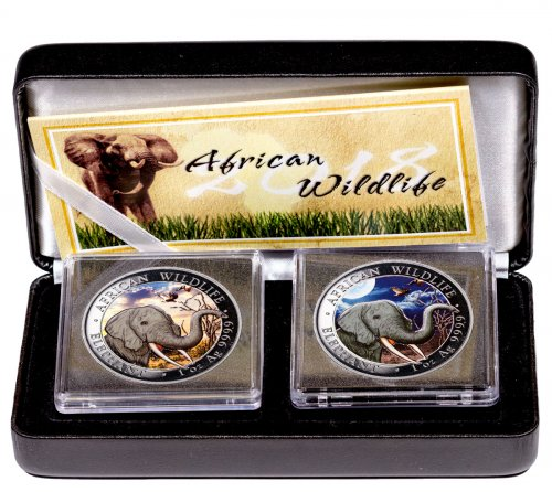 2018 Somalia African Wildlife - Day and Night Elephant 2-Coin Set 1 oz Silver Colorized Prooflike Sh100 Coin GEM Prooflike OGP