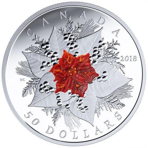2018 Canada Holiday Splendour 5 oz Silver Proof $50 Coin GEM Proof OGP