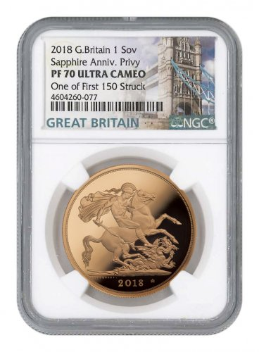 2018 Great Britain Gold Sovereign Proof £1 Coin Scarce and Unique Coin Division NGC PF70 UC FS