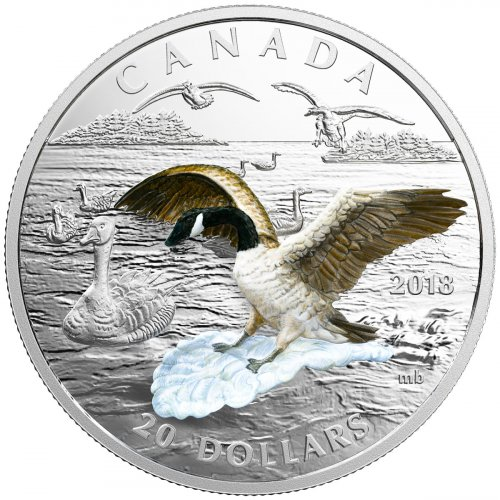 2018 Canada Three-Dimensional Series - Approaching Canadian Goose 1 oz Silver 3D Colorized Proof $20 Coin GEM Proof OGP