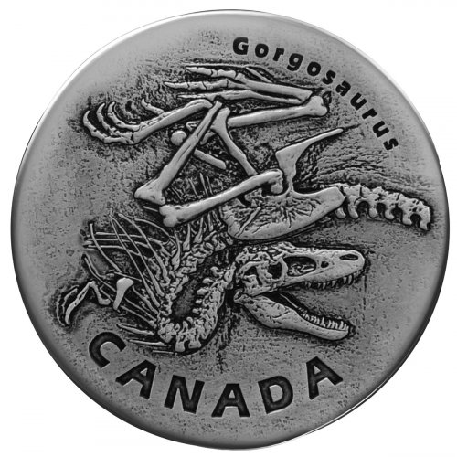 2018 Canada Ancient Canada - Gorgosaurus 1 oz Silver Antiqued $20 Coin GEM BU OGP