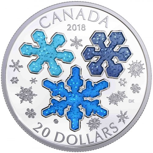 2018 Canada Ice Crystals 1 oz Silver Enameled Proof $20 Coin GEM Proof Original Government Box