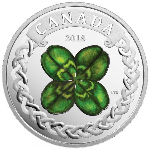 2018 Canada Lucky Clover 1 oz Silver Colorized Proof $20 Coin GEM Proof OGP